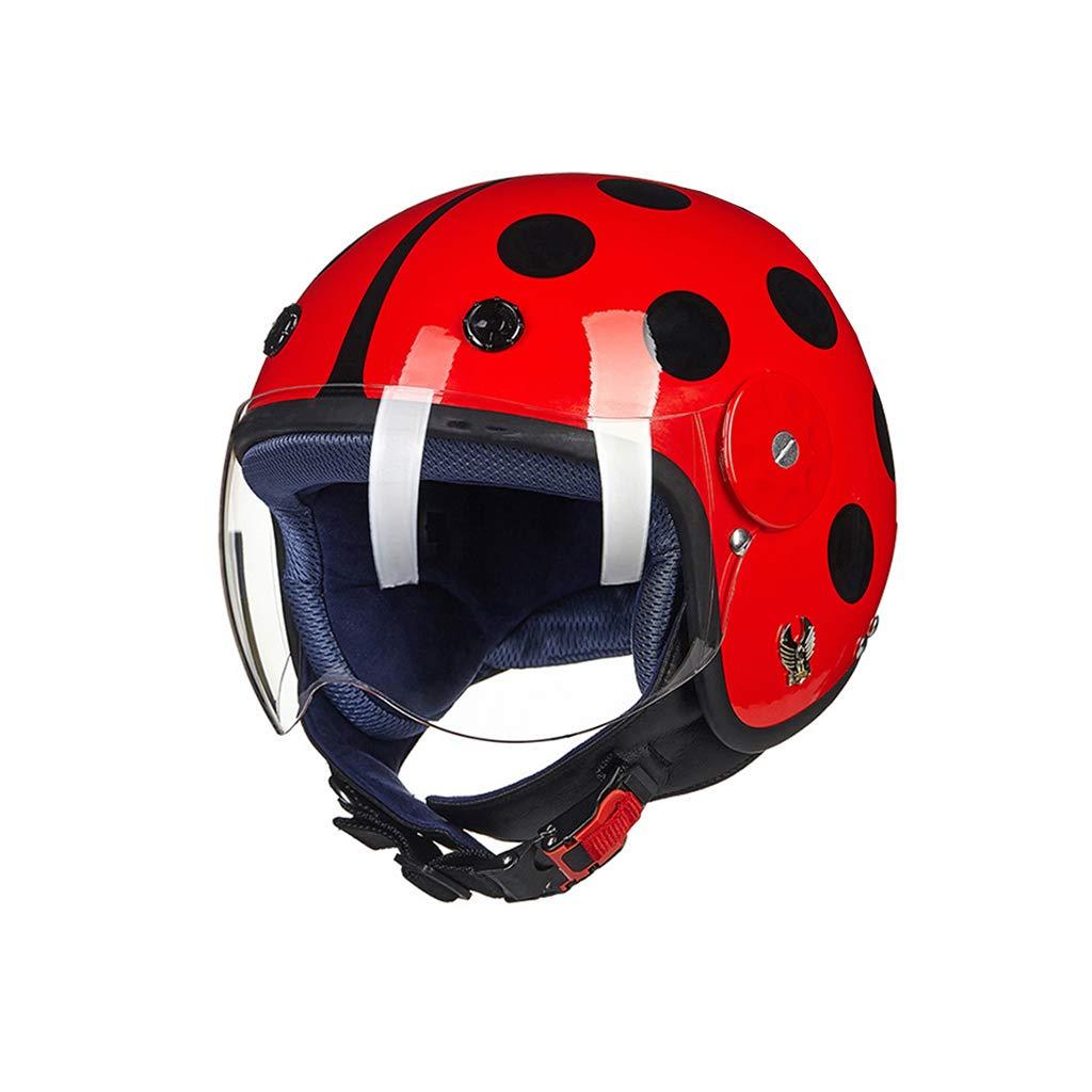 バイクの子供のヘルメット、かわいい四季のユニバーサル、冬の暖かいヘルメット、子供の半分のヘルメットの男の子と女の子、秋には強い抵抗、通気性の汗、着脱可能なライニング (色 : Red, サイズ さいず : M) Medium Red B07KCCT8BB