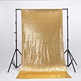 Zdada Gold Shimmer Sequin Satin Fabric Photography Backdrop 7.5ftx8ft Sequin Curtain for Wedding/Party-Seamless,Not Through