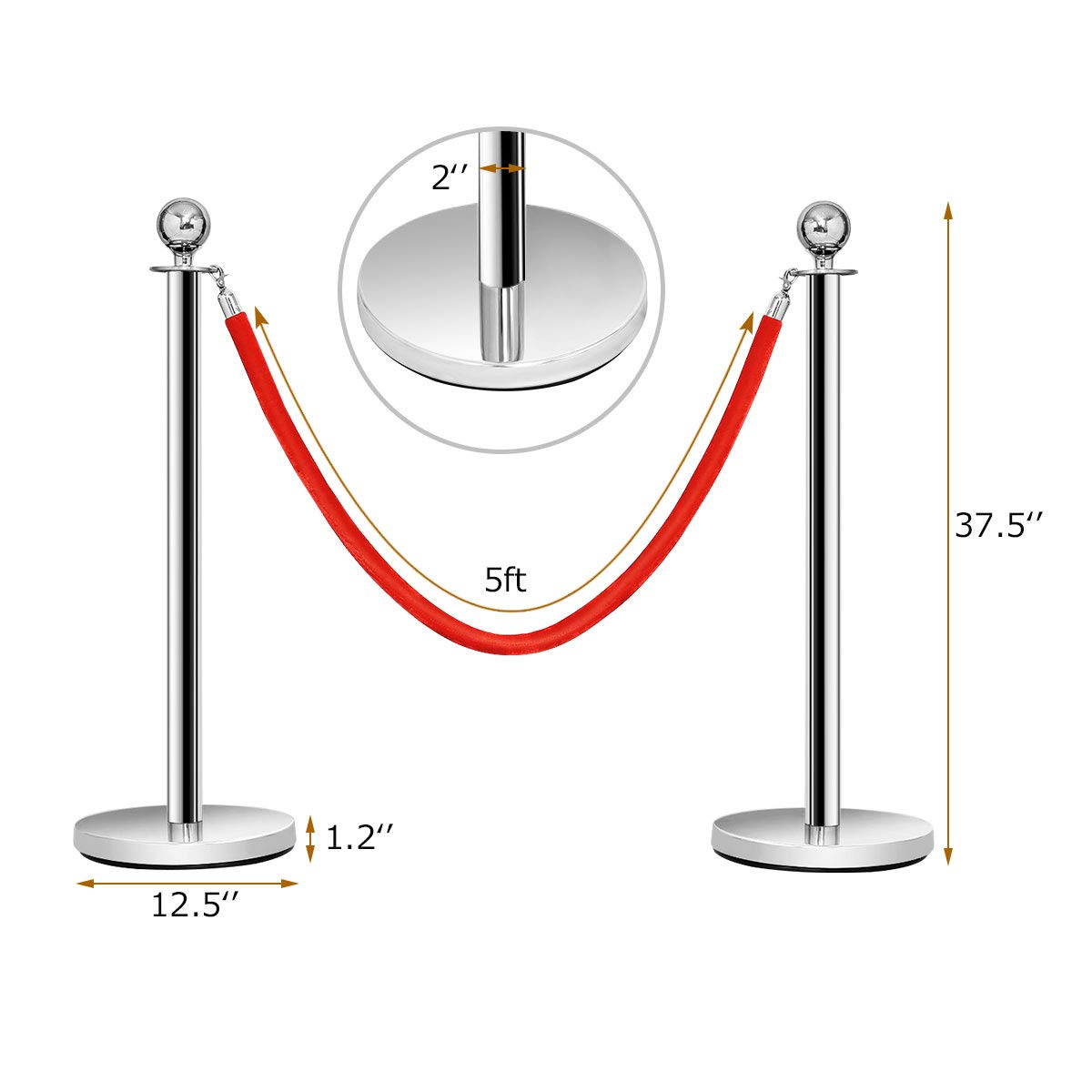 Casart 6PCS Stainless Steel Stanchion Post Set with Round Top and Red Velvet Rope