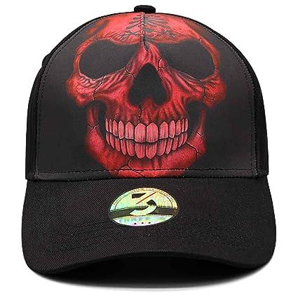 Ann Lloyd Custom Baseball Cap Skull Printed Baseball Hat Adjustable Hat  (Red Skull) 5824064869a