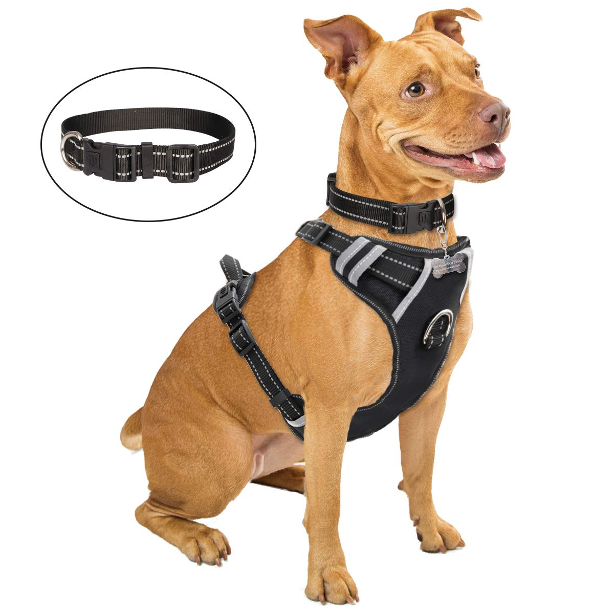 WINSEE Dog Harness No Pull, Pet Harness with Dog Collar, Adjustable Reflective Oxford Outdoor Vest, Front/Back Leash Clips for Small, Medium, Large, Extra Large Dogs, Easy Control Handle for Walking by WINSEE