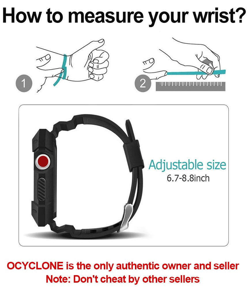 Apple Watch Band 42mm, Ocyclone Apple Watch Series 3 42mm Band iWatch 3/2/1 Sport Protective Bumper Case Strap Replacement for Active Style Men and Women by OCYCLONE (Image #6)