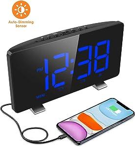 Digital Alarm Clock, ELEGIANT Alarm Clocks for Bedrooms with FM Radio, Dual Alarms, 6.7'' LED Screen, USB Port for Charging, 4 Brightness, 12/24H, Automatic Dimmer, Snooze Digital Clock for Kid Senior