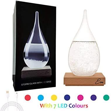 Eon Concept Storm Glass Weather Predictor - Barometer Bottle With Stunning & Colorful LED Wooden Base | Stylish Decorative Centerpiece For Home & Office | Perfect Birthday Friendship Novelty Gift Idea