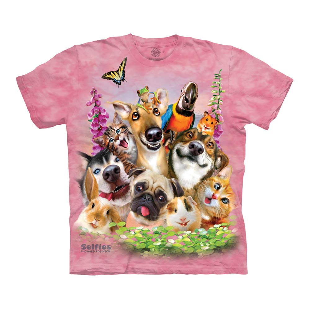 The Mountain Pet Selfie Adult T-Shirt, Pink, Medium by The Mountain