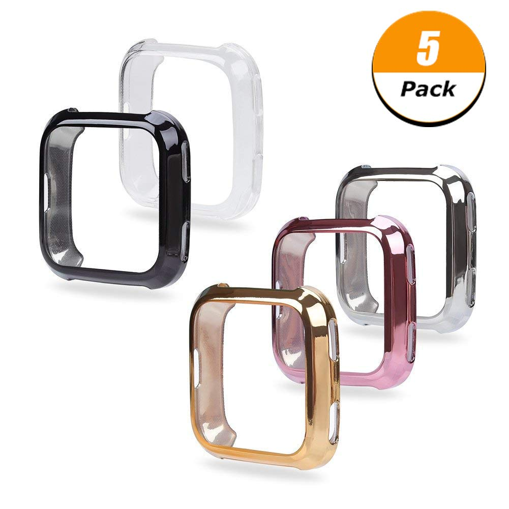 Fingertip WD Fitbit Versa Case, 5Pack Soft TPU Plated Screen Protector Full Protective Bumper Shell Cover Compatible Fitbit Versa Smartwatch by Fingertip WD