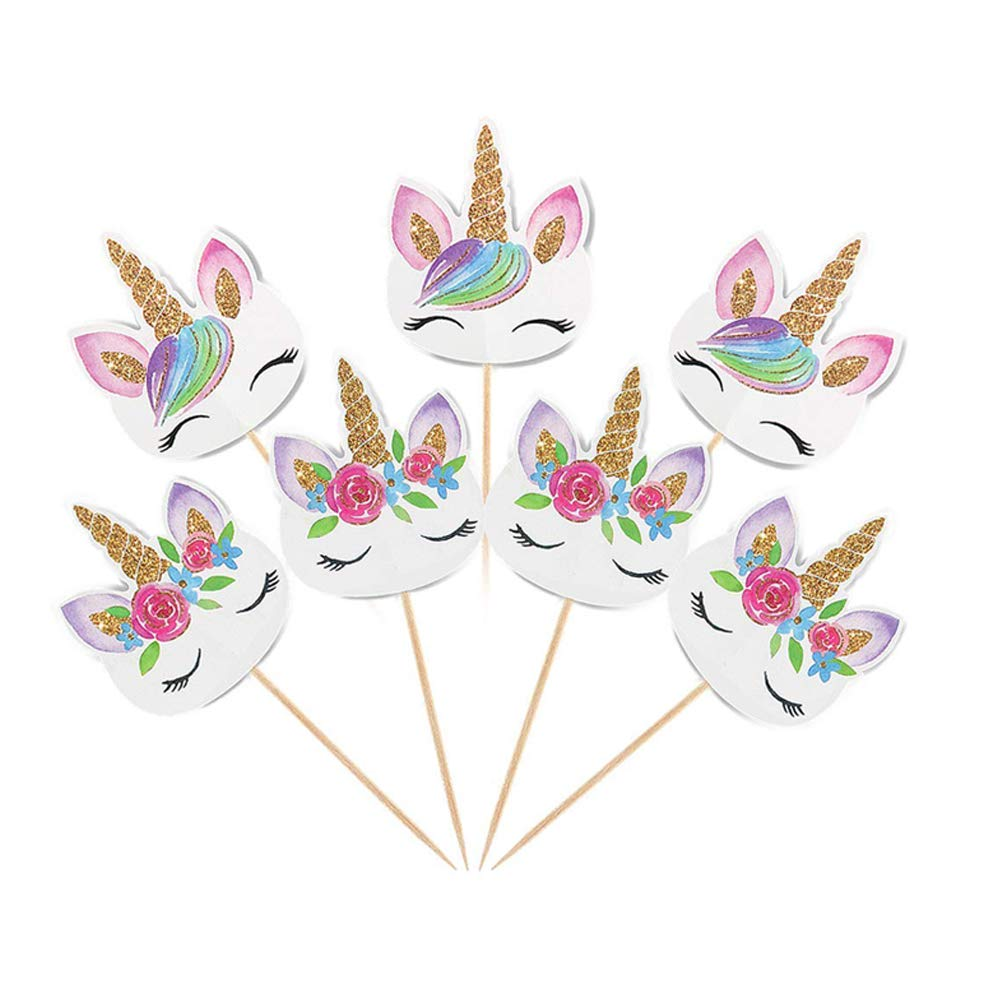 Coopache 48 Pieces Rainbow Unicorn Cupcake Toppers, Cupcake Picks Cake Decorations, Double Sided Unicorn Cake Topper Set Birthday Baby Shower Party Supplies