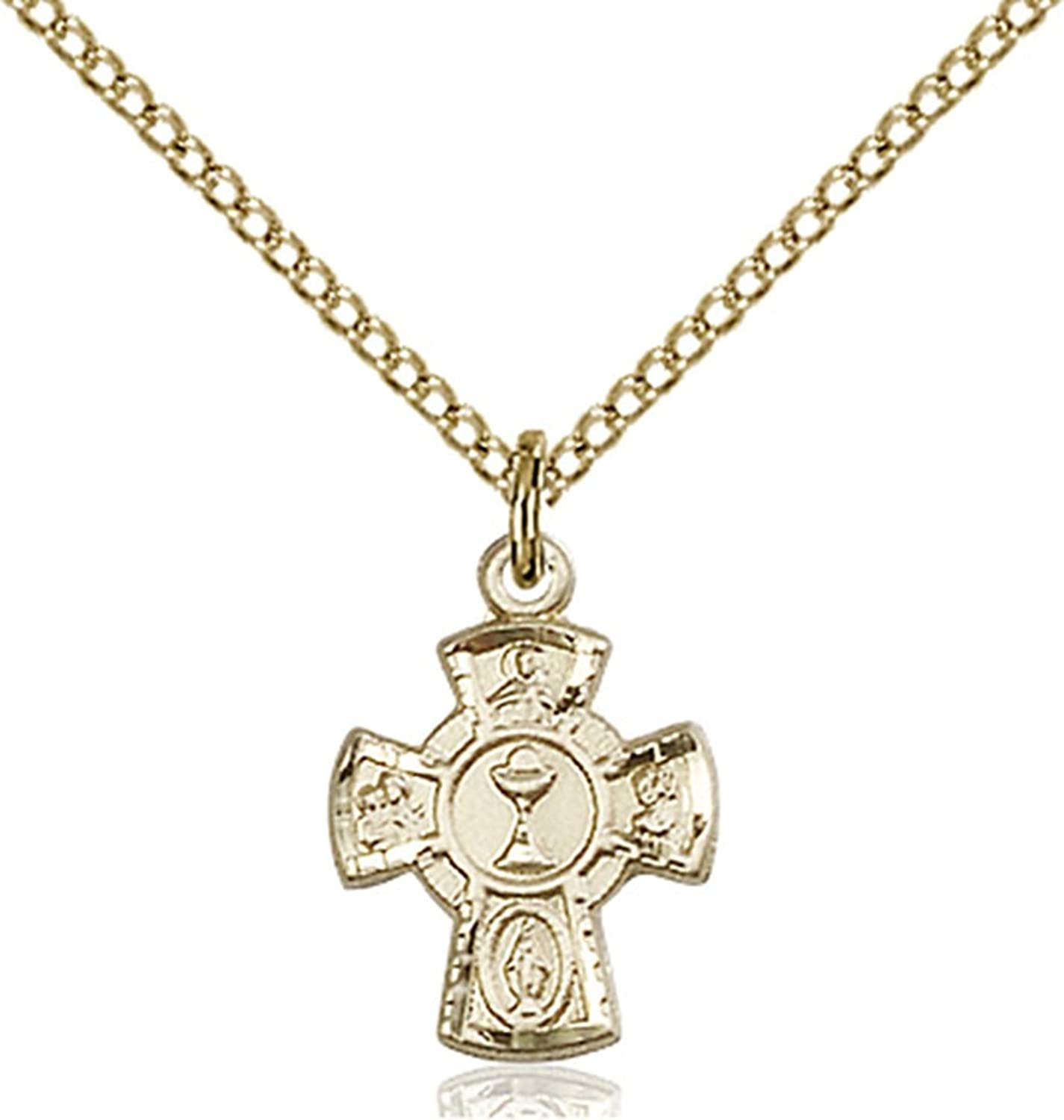 14K Gold Filled First Communion 5-Way Medal with Chalice Center, 1/2 Inch