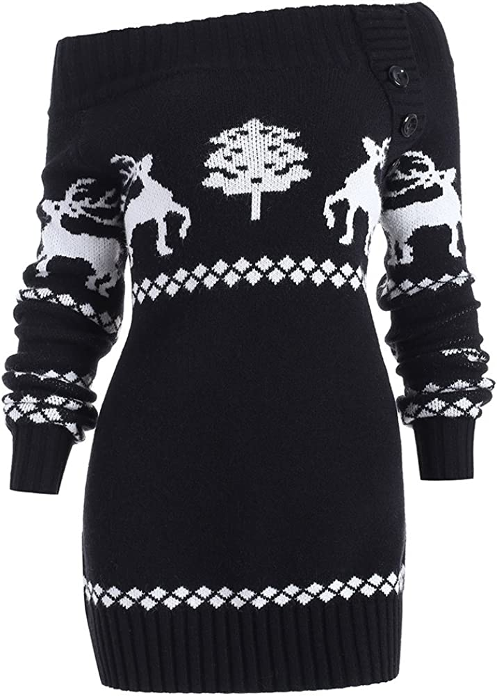 DressLily Women Christmas Ugly Sweater Off Shoulder Reindeer Snowflake Print Knit Santa Tunic Tops
