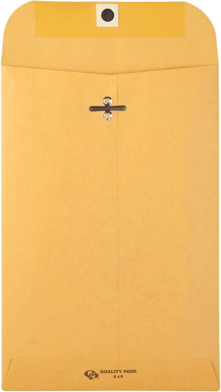 Quality Park Clasp Envelope, 6 x 9 Inches, Brown Kraft, Dispenser, Carton of 500 (37555)