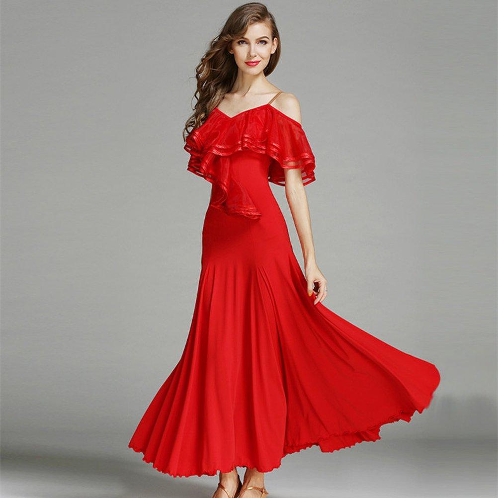 ... Women French Classic Luxury Big Lotus Leaf Swing Ice Silk Latin Dance  Costume Flamenco Ballroom Waltz ...