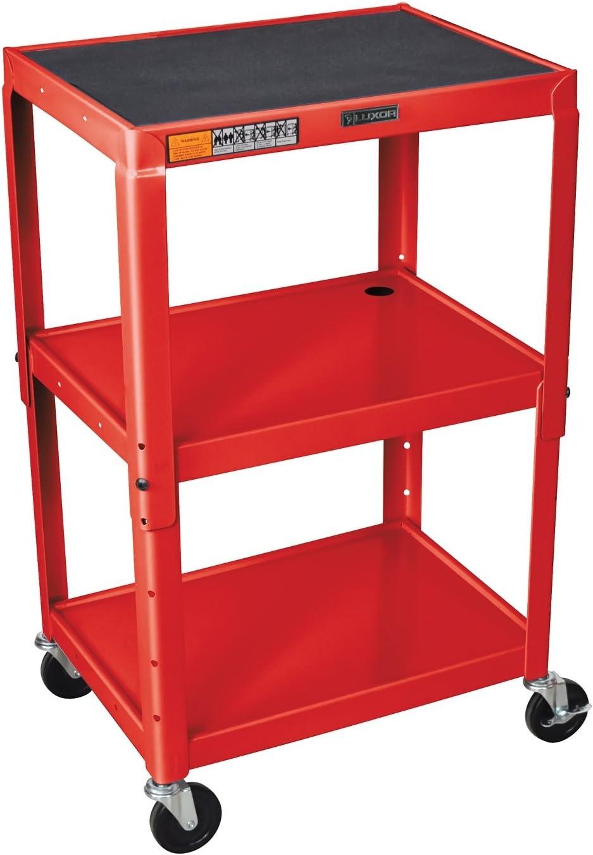 Luxor AVJ42-RD – Adjustable Height Steel A V Cart – Three Shelves, Red