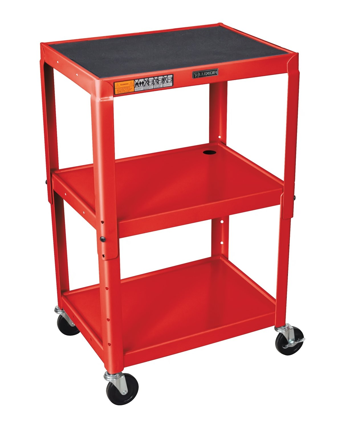 Luxor AVJ42-RD - Adjustable Height Steel A/V Cart - Three Shelves, Red