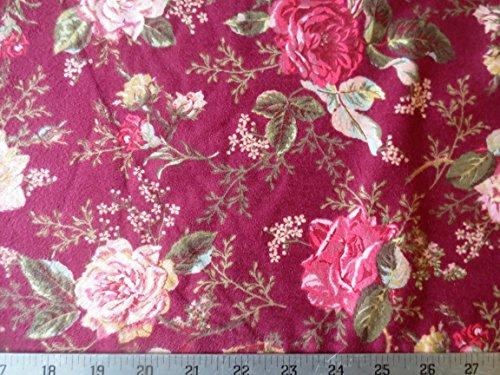 Flannel Northcott Fabric (Rose Petal Cottage Flannel Maroon Floral Northcott Cotton Fabric F2118-26)