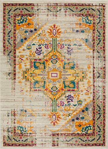 Vintage Heriz Floral Medallion Traditional Multi Color Beige Fuscia Orange Yellow 5×7 5 3 x 7 3 Area Rug