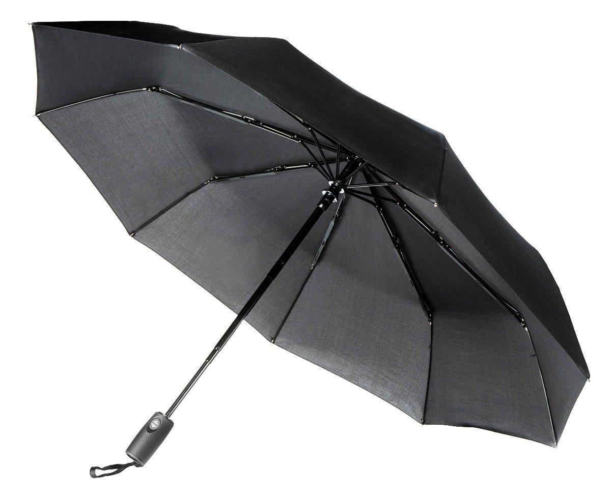 Aukelly Paraguas Negro de Viaje Plegable con Apertura y Cierre Automático Paraguas