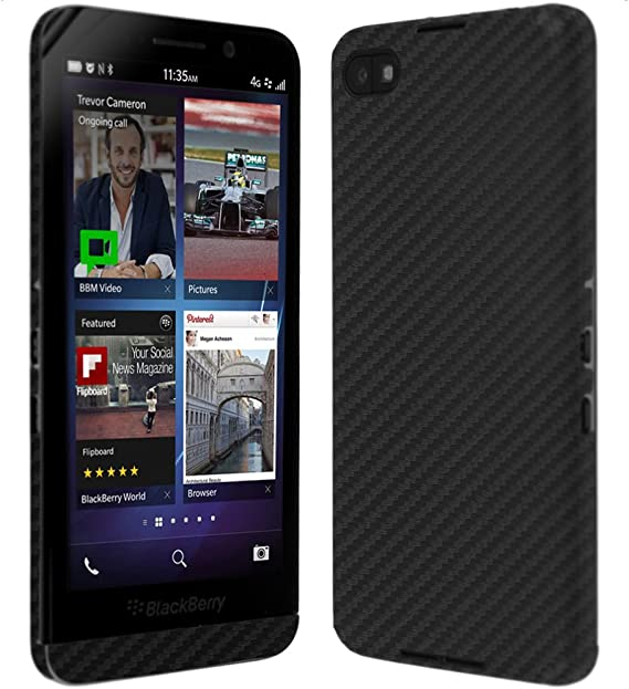 TechSkin with Anti-Bubble Clear Film Screen Protector Full Coverage Skinomi Black Carbon Fiber Full Body Skin Compatible with BlackBerry DTEK60