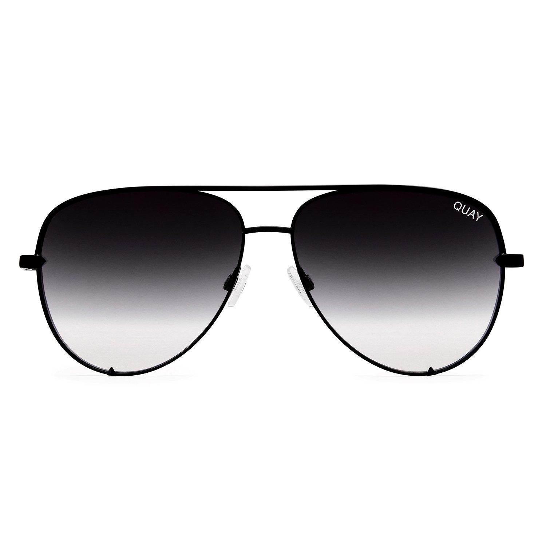 Quay Women's x Desi Perkins High Key Mini Sunglasses Quay Women' s Mirrored High Key QC-000268-BLK/SLV Black Aviator Sunglasses