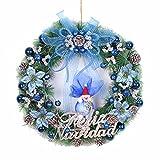 Christmas decorations Christmas scene pendant 50cm pine needles rosette Christmas tree decoration,Blue