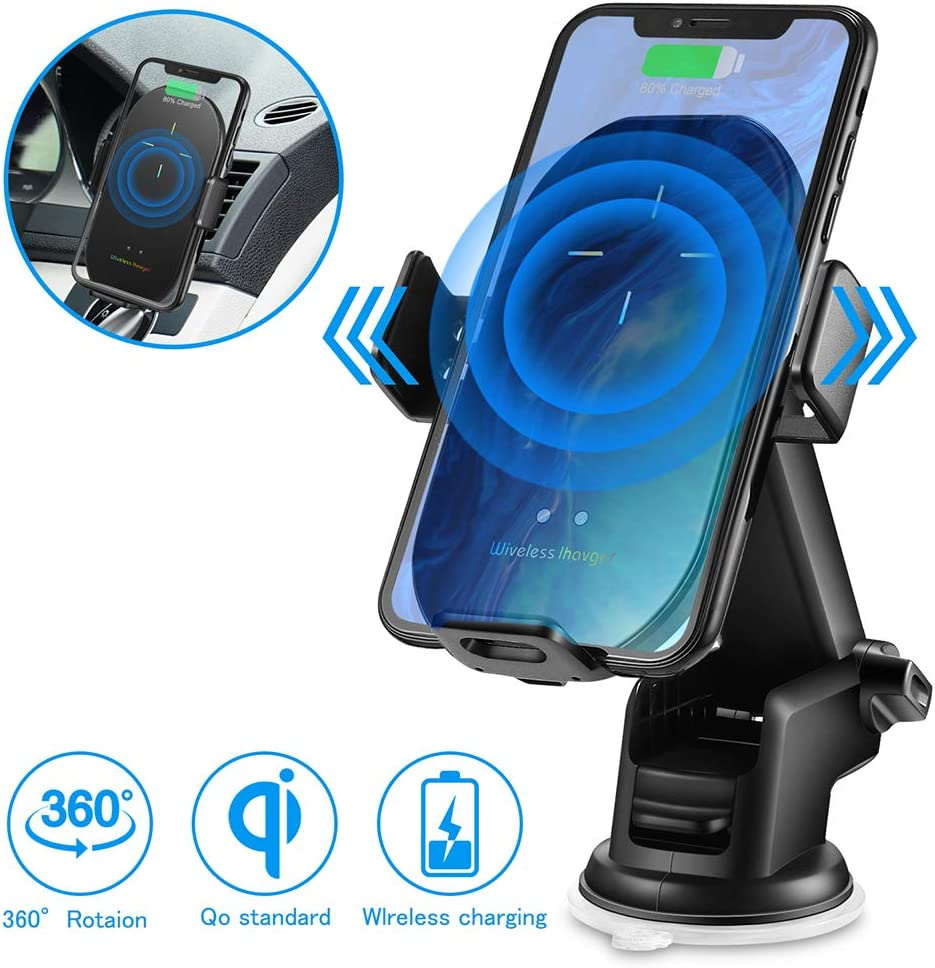 Black 【2020 Version】 Wireless car Charger Mount 10W Qi Fast Charging Auto Clamping Car Mount Phone Holder Compatible iPhone 11 Pro Max//11 Pro//11//XS MAX//XS//XR//X//8P//8 Samsung S10+// S10//S9+//S9//S8+//S8