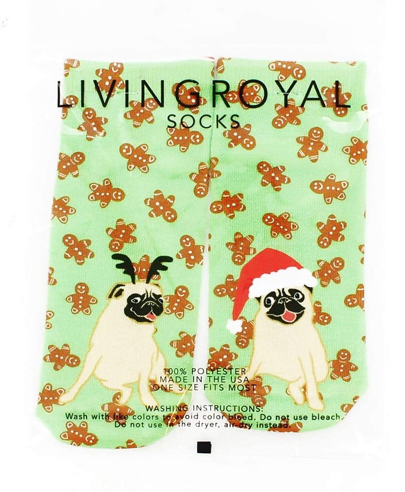 Living Royal Christmas Pugs Ankle Socks