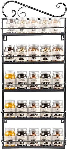 Redgiants 5 Tier Black Wall Mounted Spice Rack Organizer ,for Cabinet Pantry Door Kitchen Spice Shelf Storage Stainless Steel Racks