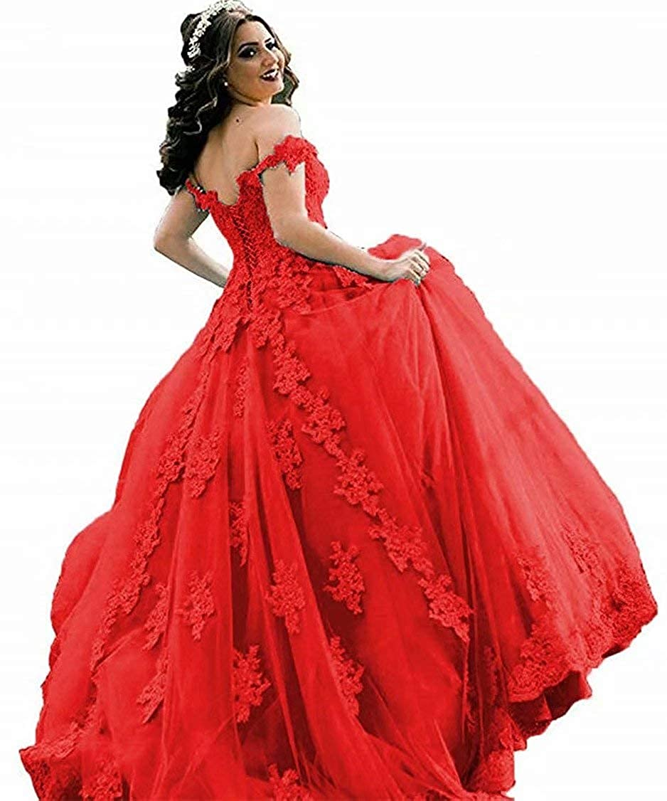 Red EEFZL Women's Beaded Lace Appliques Prom Evening Dresses Off Shoulder Evening Ball Gowns Wedding Quinceanera Dresses