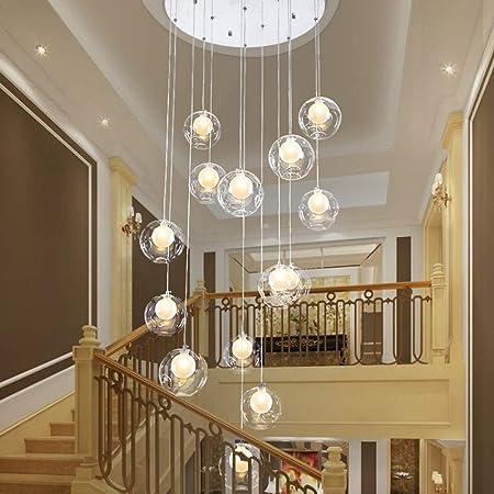 Lámpara de escalera minimalista moderna Lámpara de bola de vidrio múltiple Lámpara de sala de estar Villa Escalera giratoria dúplex Lámpara larga Bola de cristal transparente (Size : 15 balls) : Amazon.es: Hogar