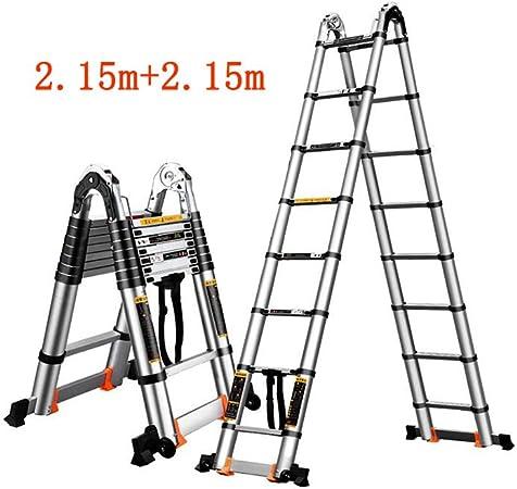 GLJJQMY Escalera telescópica para el hogar, espiguilla Recta de Doble Uso, Escalera de ingeniería, portátil, Plegable, de bambú, para Levantamiento de Pesas, Aleación de Aluminio, 2.15m+2.15m: Amazon.es: Hogar