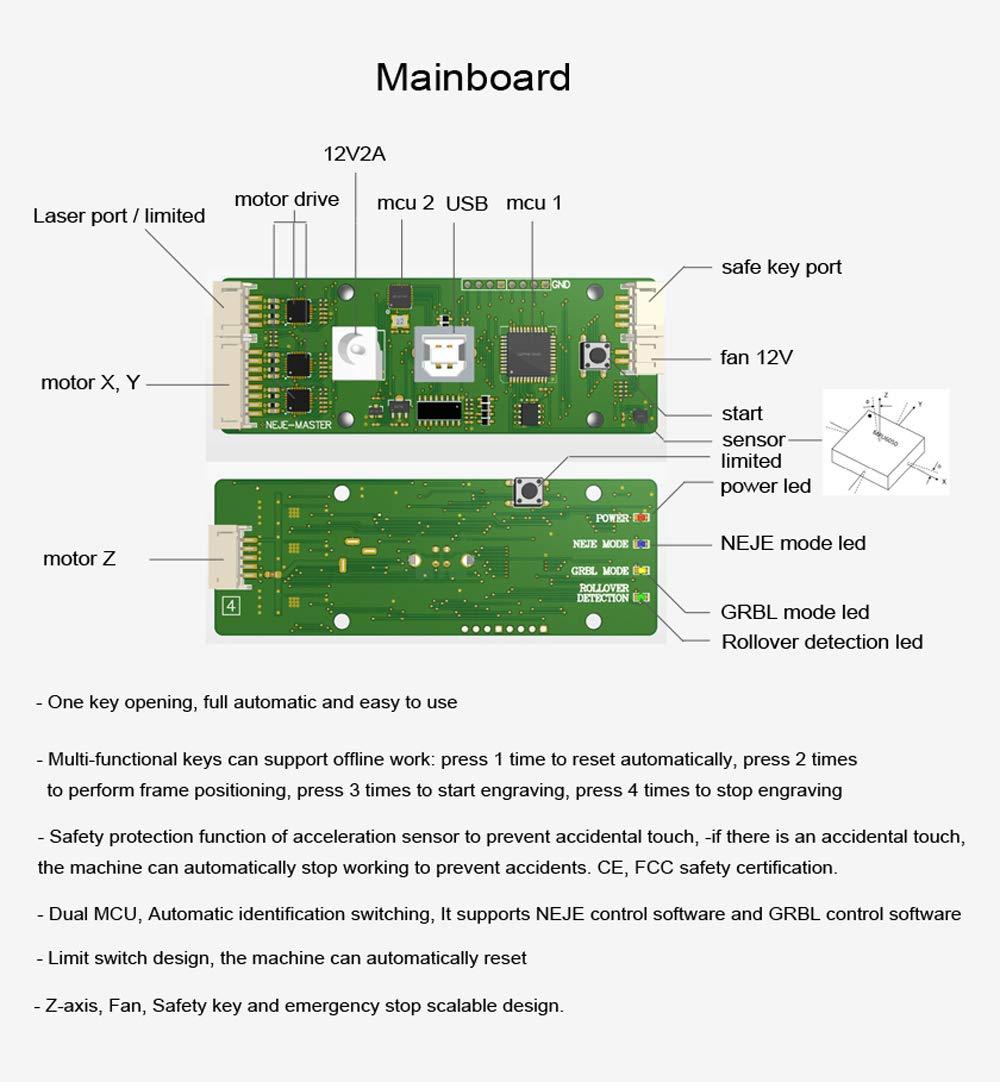 M/áquina de Grabado L/áser de Escritorio Compatible con Win7 // Win8 // XP // Win10 // android Grabado de Metal y Grabado de Madera Vogvigo 20000 mW M/áquina de Grabado L/áser CNC