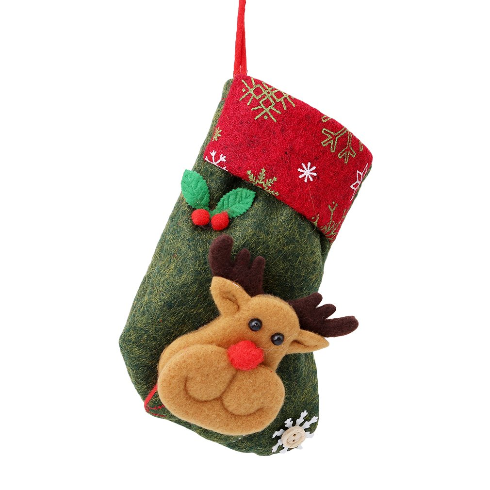 HENGSONG Christmas Socks Decoration Snowman Santa Claus Patterns Stocking Hanging Gift Bags Decors (Color 8)
