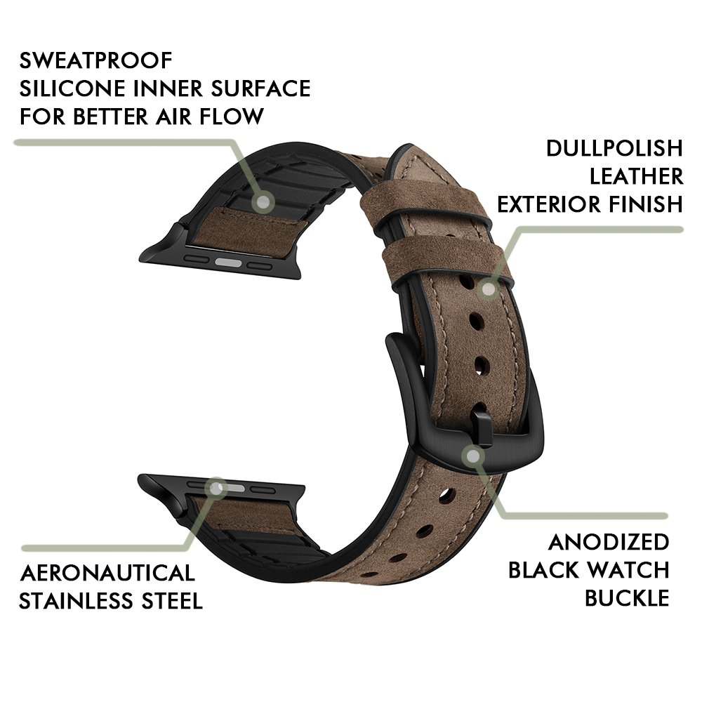 RUCHBA Luxurious Hybrid Genuine Leather Band for Apple Watch 42mm Sweatproof Bands Silicone Lining Replacement straps for iwatch Space Black series 1 2 3 Sport and Edition Men Women - Dark Brown
