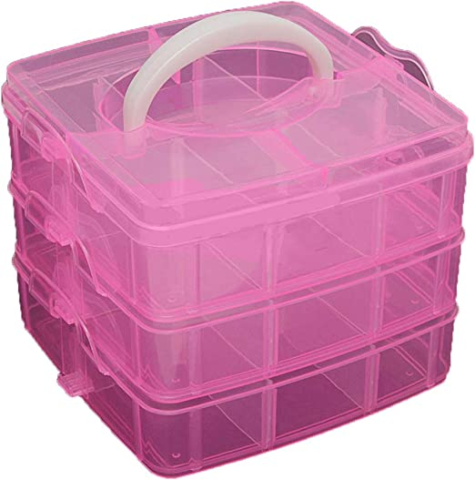 US 3 Layers 18 Compartments Clear Jewelry Storage Box Case Craft Organizer Beads