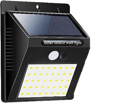 QUANHAO Luz solar al aire libre, Sensor de movimiento Seguridad Luces de energía solar 20 LED L�...