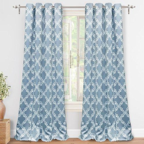 "DriftAway Julianna Geometric Pattern Thermal Insulated Blackout/Room Darkening Grommet Unlined Window Curtains, Set of Two Panels, each 52""x84"" (Slate - Panel Slate Window"
