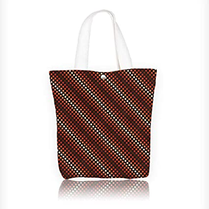 Women s Canvas Tote Handbags Retro Funky Nostalgic Polka Dots Circle Rounds  in Contrast Casual Top Handle 52718fe4ed252