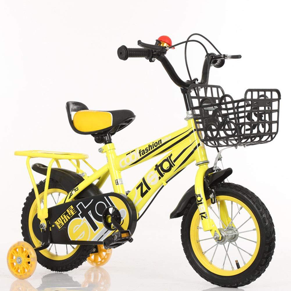 Bici Bambini Bicicletta Altezza Regolabile Bicicletta di Montagna Doppio Freno Ragazzo Ragazza Sicurezza Damping 14 Pollici 2-10 Anni,giallo