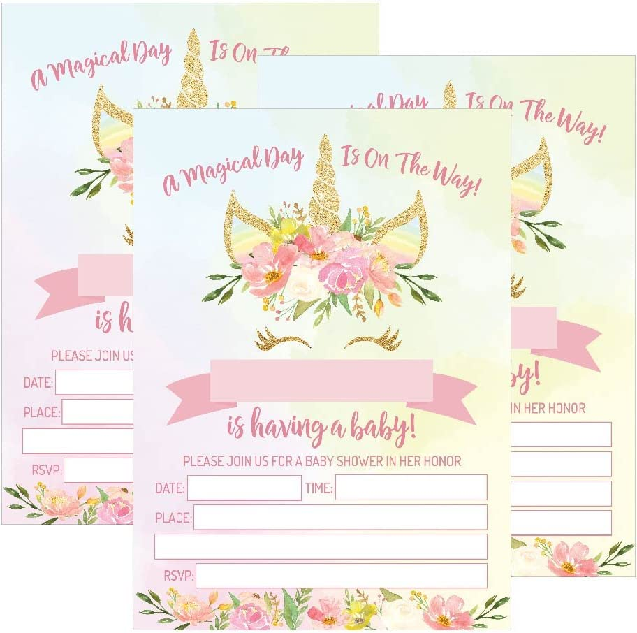 Amazon Com 25 Pink Blush Gold Girl Unicorn Baby Shower Invitations Cute Floral Printed Fill Or Write In The Blank Invite Flower Shabby Chic Unique Custom Vintage Coed Party Card Stock Paper Supplies