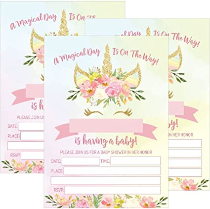 25 Pink Blush Gold Girl Unicorn Baby Shower Invitations Cute Floral Printed Fill Or Write In The Blank Invite Flower Shabby Chic Unique Custom