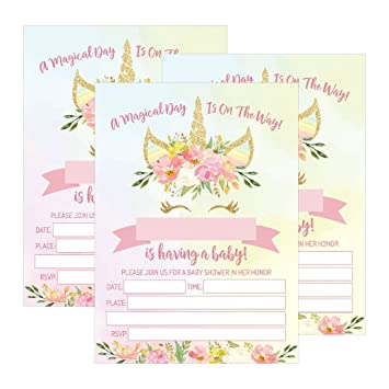 Amazon 25 pink blush gold girl unicorn baby shower invitations 25 pink blush gold girl unicorn baby shower invitations cute floral printed fill or write filmwisefo