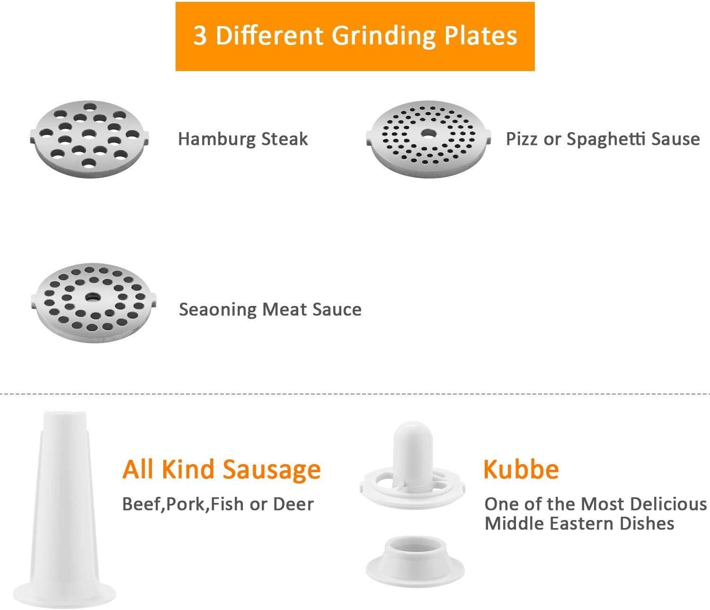 COOCHEER Tritacarne Professionale,Macchina per Salsicce Professionale,3 Diverso accessori per il taglio,Accessori per Kubbe,Acciaio Inox,500W