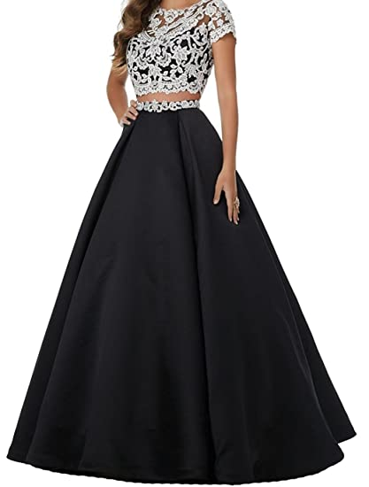 98750758fdc LUBridal Women s Applique Short Sleeves Two Piece Prom Dresses Sexy Open  Back Long Evening Gowns Black