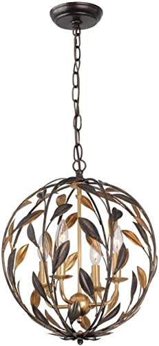 Crystorama 504-EB-GA Leaf, Flower, Fruit Four Light Chandeliers from Broche collection in Bronze Darkfinish,