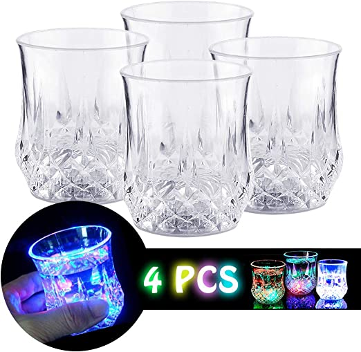 24 PCS LED LIGHT UP DRINK SHOT GLASSES ACRYLIC CUP BARWARE COLA BEER PARTY GLASS