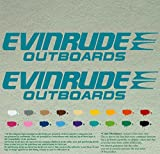 Pair of Evinrude Outboards Decals Vinyl Stickers Boat Outboard Motor Lot of 2 (24 inch, Turquoise 054)