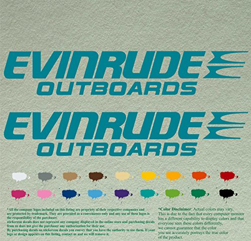 Pair of Evinrude Outboards Decals Vinyl Stickers Boat Outboard Motor Lot of 2 (12 inch, Turquoise 054)