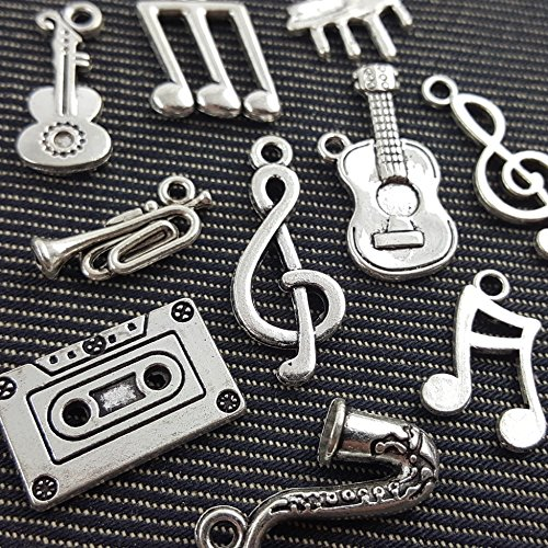 (NP Supplies 10 Mixed Tibetan Silver Plated Music Melody Charms Pendants (NS521 M039))