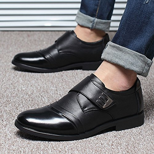 Fit Scarpe traspirante Low da Resistente Nero all'abrasione uomo in EU LoopStrap fodera Dimensione con Oxford amp; Nero Business pelle amp;Baby Giubbotto Sunny Color Hook vera 38 wq6TCT