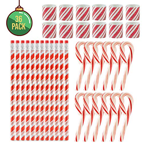 (FAVONIR Christmas Party Favor stocking Stuffers 36 Pcs Goody Bag Assortment Peppermint Mini Candy Canes, stationery pencils, Magic Coil Holiday Theme Assortment Kids Activity Toys & Fun Reward Prizes )