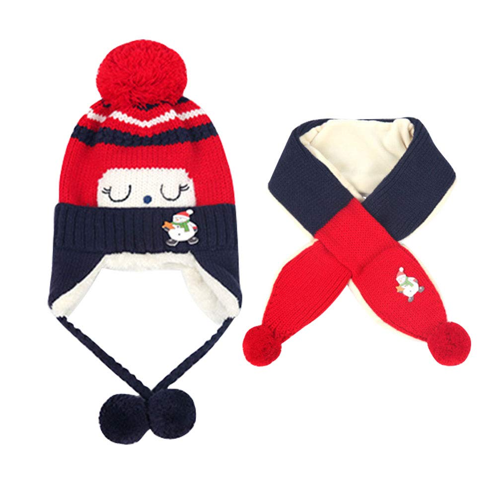 LSERVER Toddler Kids Cartoon Winter Cute Warm Cap Scarf Girl Boy Hat Child Knitted Soft Protect Set